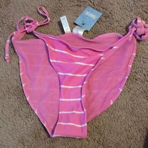 New Pink With White Stripes String Bikini Bottom